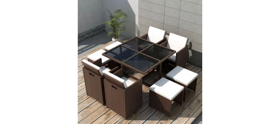 Udendørs spisebordssæt 9 dele med hynder polyrattan brun