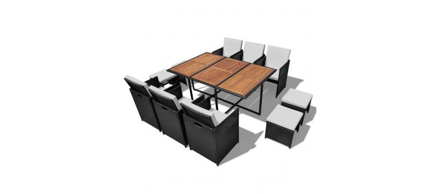 Udendørs spisebordssæt 11 dele polyrattan akacietræ sort