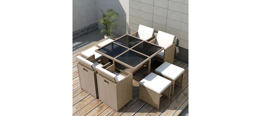 Udendørs spisebordssæt 9 dele med hynder polyrattan beige