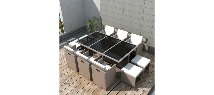 Udendørs spisebordssæt 11 dele med hynder polyrattan beige