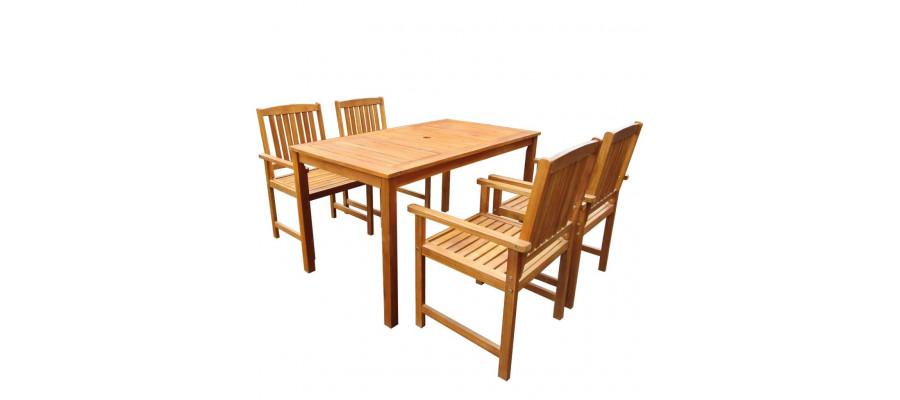 Udendørs spisebordssæt 5 dele massivt akacietræ