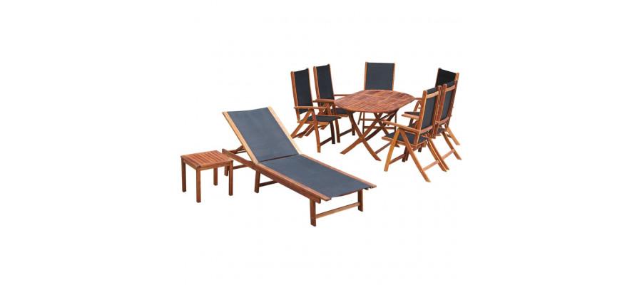 Udendørs spisebordssæt 9 dele med hynder massivt akacietræ