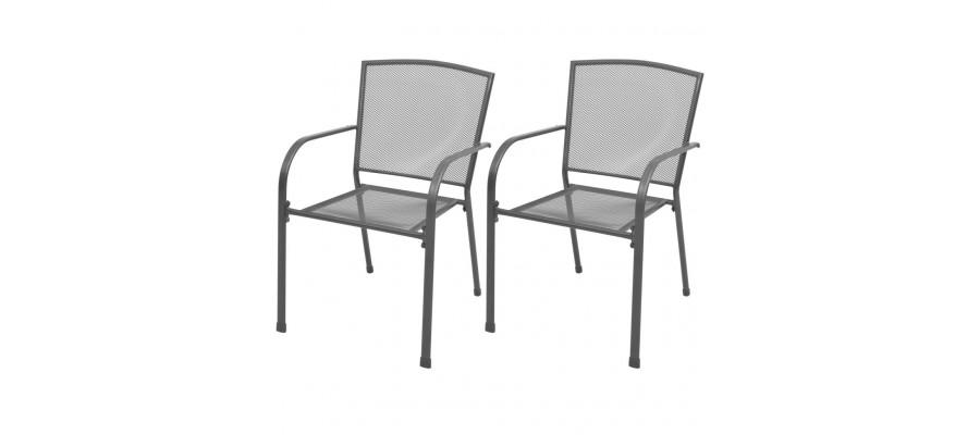 Stabelbare havestole 2 stk. stål grå