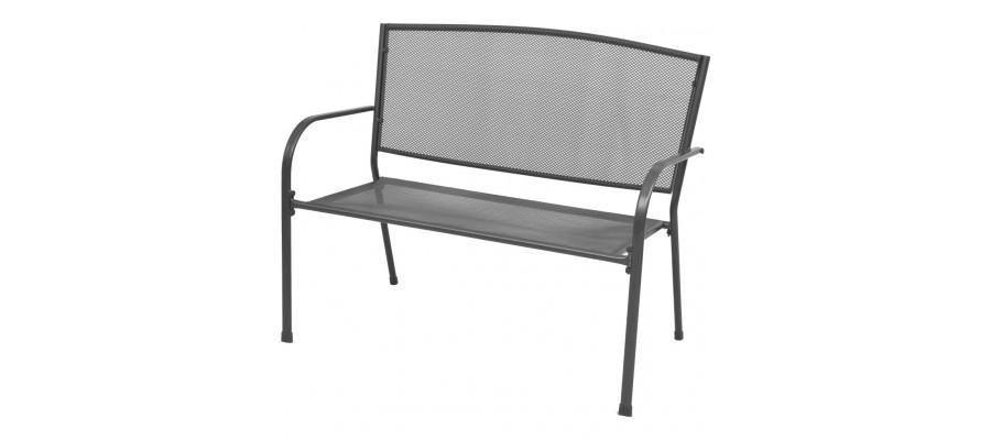 Havebænk 108 cm stål og trådnet antracitgrå
