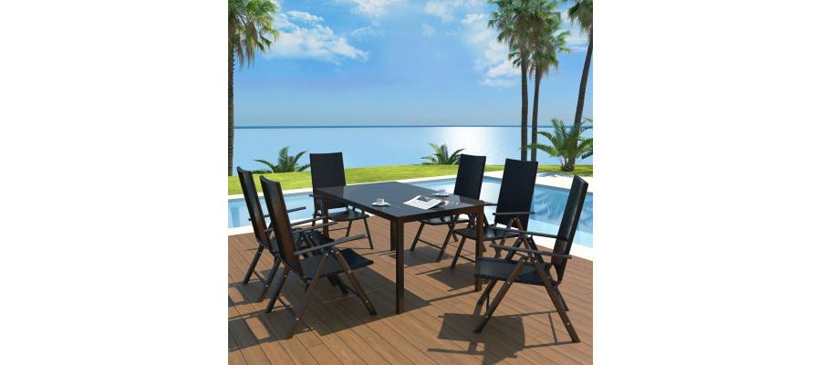 Udendørs spisebordssæt 7 dele aluminium og polyrattan