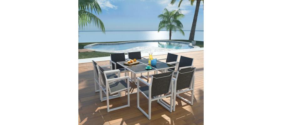 Udendørs spisebordssæt 9 dele aluminium sort