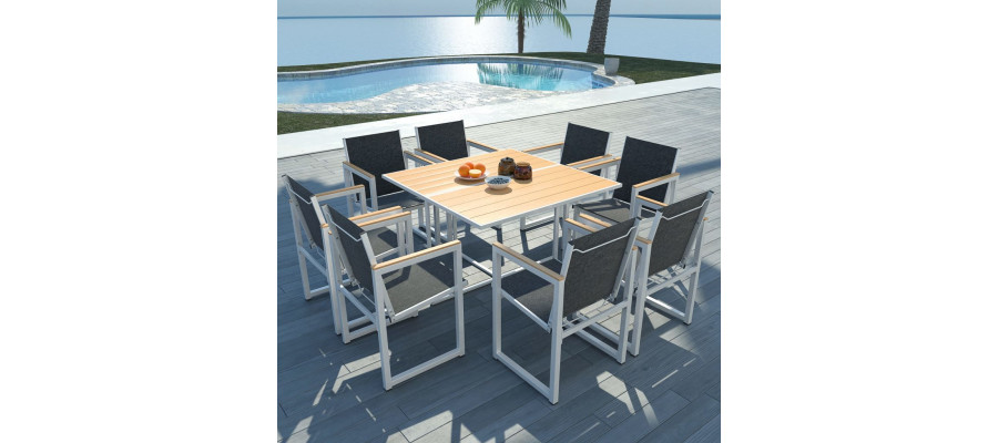 Udendørs spisebordssæt 9 dele WPC-bordplade aluminium