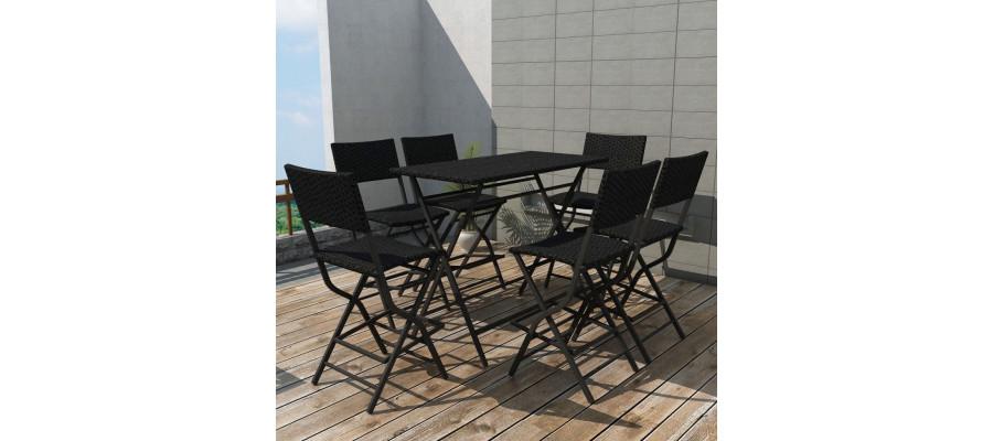Foldbart udendørs spisebordssæt 7 dele stål polyrattan sort