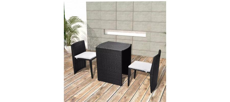 Udendørs spisebordsæt i 5 dele polyrattan sort