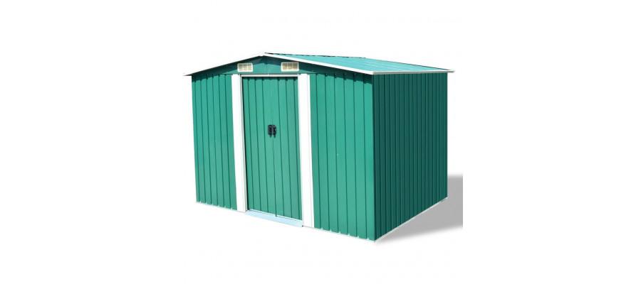 Opbevaringsskur til haven 257x205x178 cm metal grøn