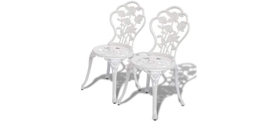 Bistrostole 2 stk. støbt aluminium hvid