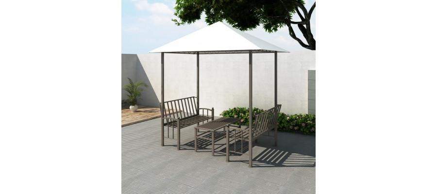 Havepavillon med bord og bænk 2,5 x 1,5 x 2,4 m