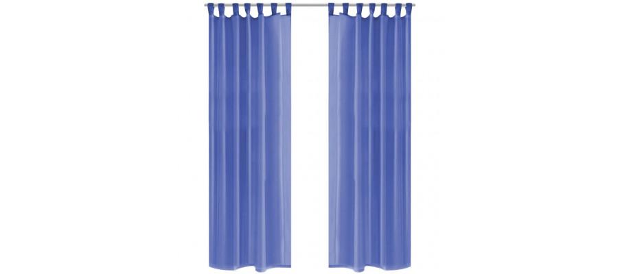 Voile-gardiner 2 stk. 140x225 cm kongeblå