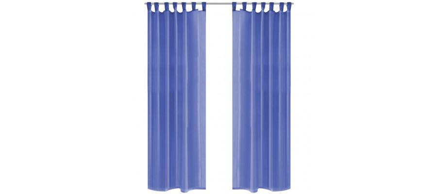Voile-gardiner 2 stk. 140x245 cm kongeblå