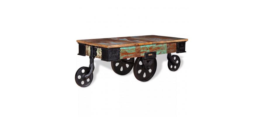 Sofabord i massivt genbrugstræ 90 x 45 x 35 cm