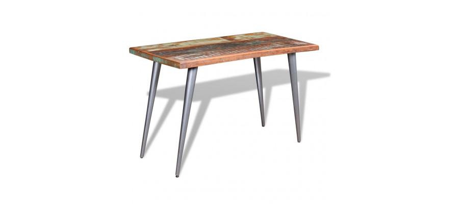 Spisebord i massivt genbrugstræ 120x60x76 cm