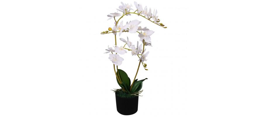 Kunstig orkidéplante med urtepotte 65 cm hvid