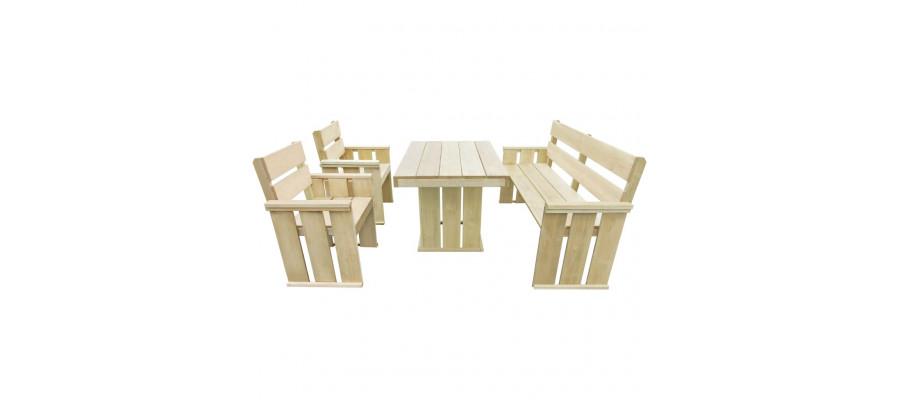 Udendørs spisebordssæt 4 dele imprægneret fyrretræ