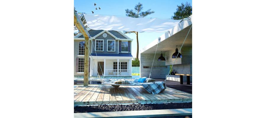 Solsejl til terrassen komplet sæt oxford-stof 140 x 420 cm
