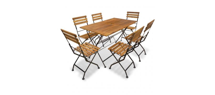 Foldbart udendørs spisebordssæt 7 dele massivt akacietræ