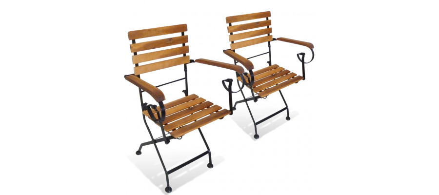 Foldbare havestole 2 stk. stål og massivt akacietræ
