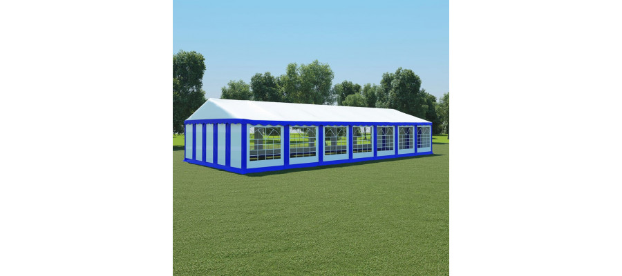 Teltdug 6 x 14 m blå og hvid