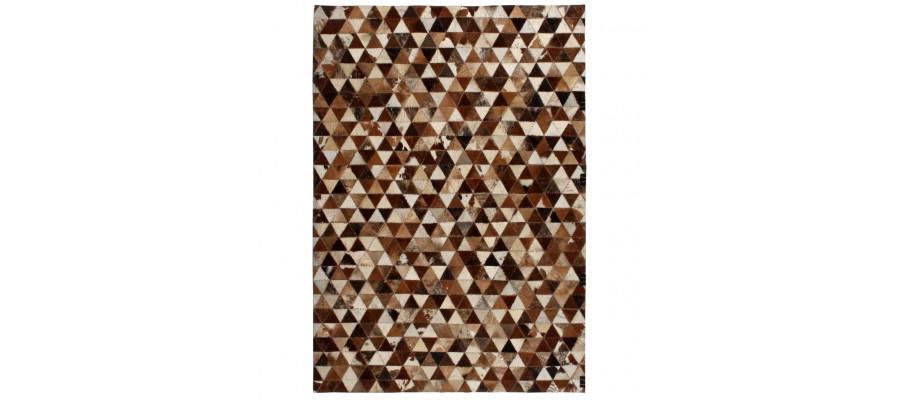Tæppe ægte kolæder patchwork 80 x 150 cm trekant brun/hvid