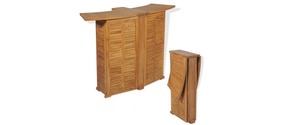 Foldbart barbord i massivt teaktræ 155 x 53 x 105 cm