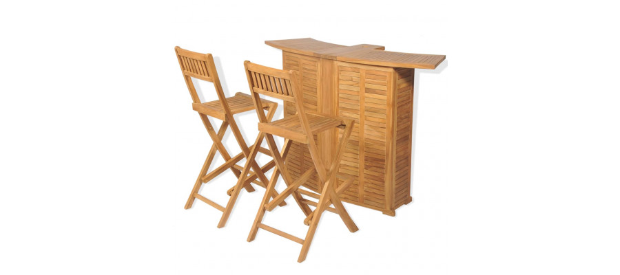 Bistrosæt 3 dele foldbare stole massivt teaktræ