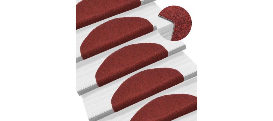 Selvklæbende trappemåtter 15 stk. nålenagle 65 x 21 x 4 cm rød