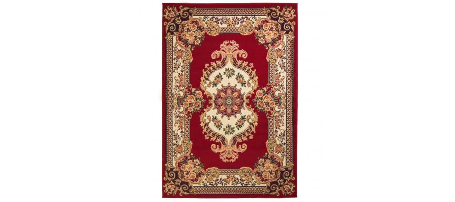 Orientalsk tæppe persisk design 80 x 150 cm rød/beige