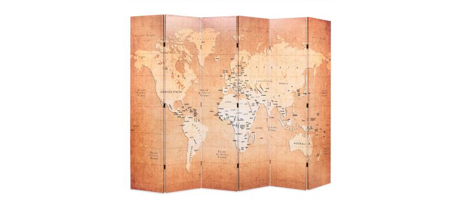 Foldbar rumdeler 228 x 170 cm verdenskort gul