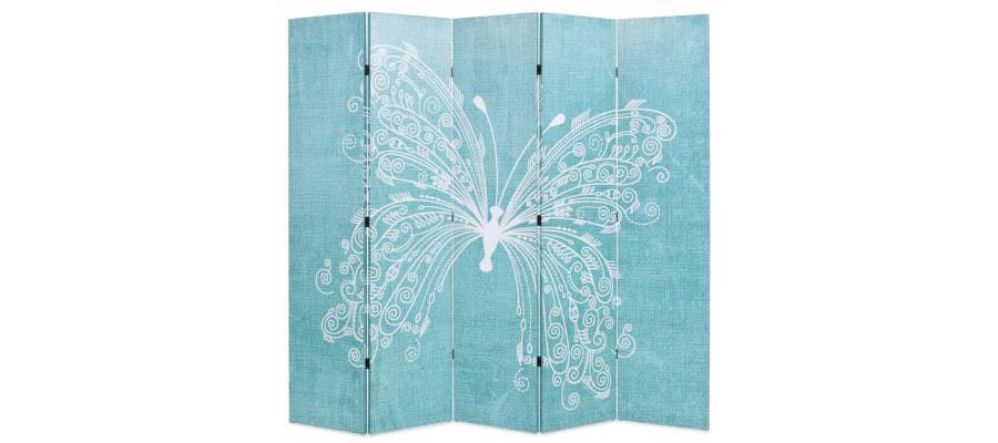 Foldbar rumdeler 200 x 170 cm sommerfugl blå