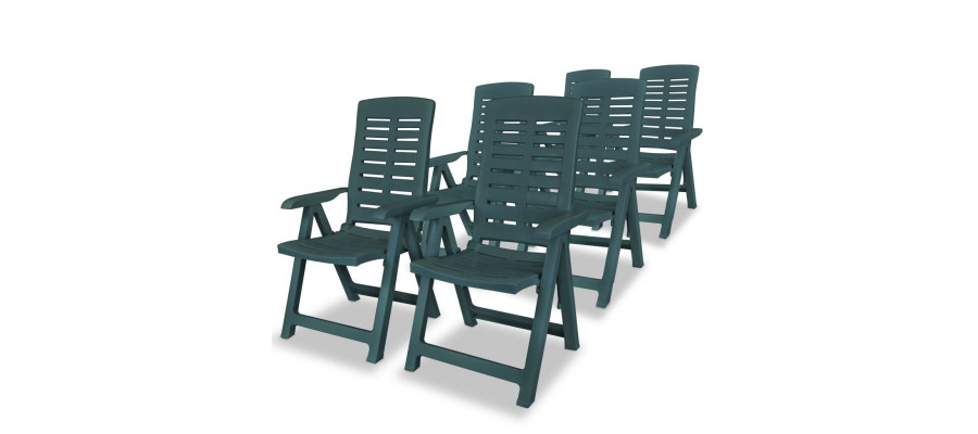 Havelænestole 6 stk. plastik grøn