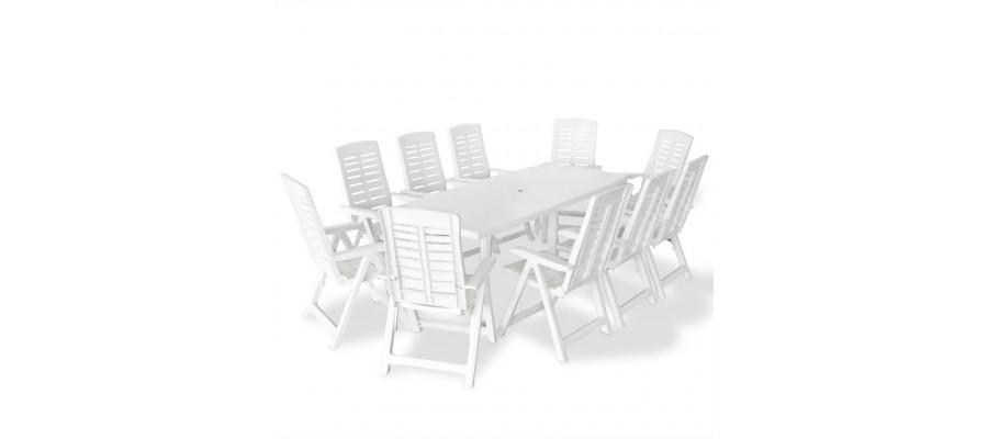 Udendørs spisebordssæt 11 dele plastik hvid