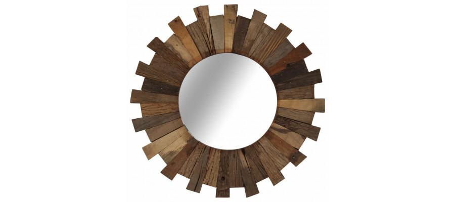 Vægspejl 50 cm massivt genbrugstræ