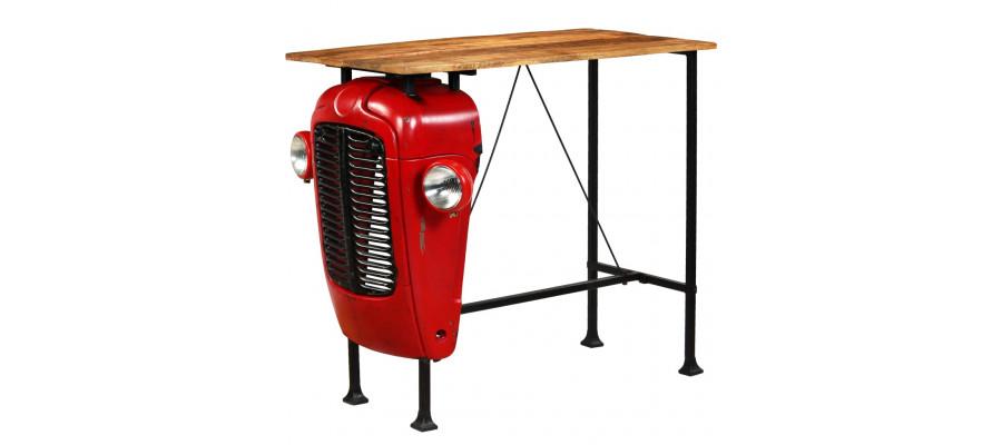 Traktor-barbord i massivt mangotræ rød 60 x 120 x 107 cm