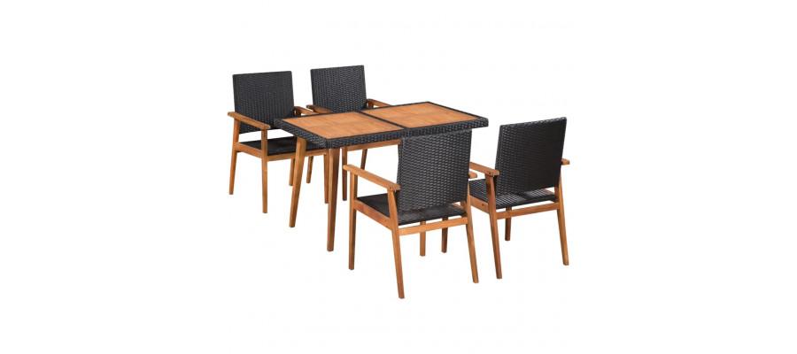 Udendørs spisebordssæt 5 dele polyrattan sort og brun