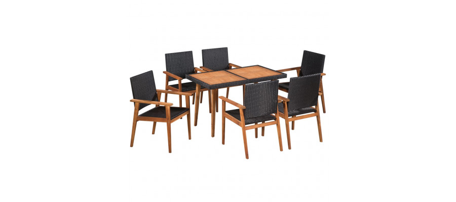 Udendørs spisebordssæt 7 dele polyrattan sort og brun