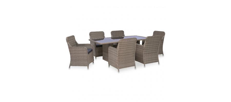 Udendørs spisebordssæt i 7 dele polyrattan brun