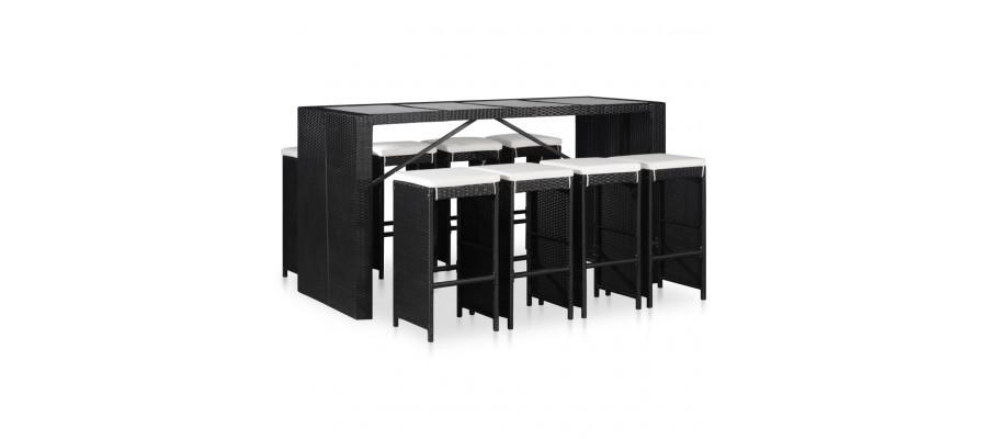 Udendørs spisebordssæt i 9 dele polyrattan sort