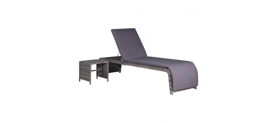 Liggestol med bord polyrattan grå