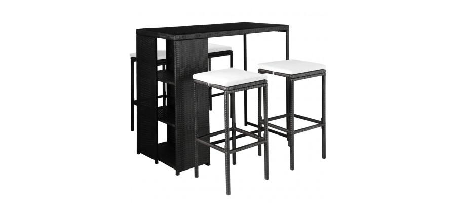 Udendørs spisebordssæt 5 dele med hynder polyrattan sort