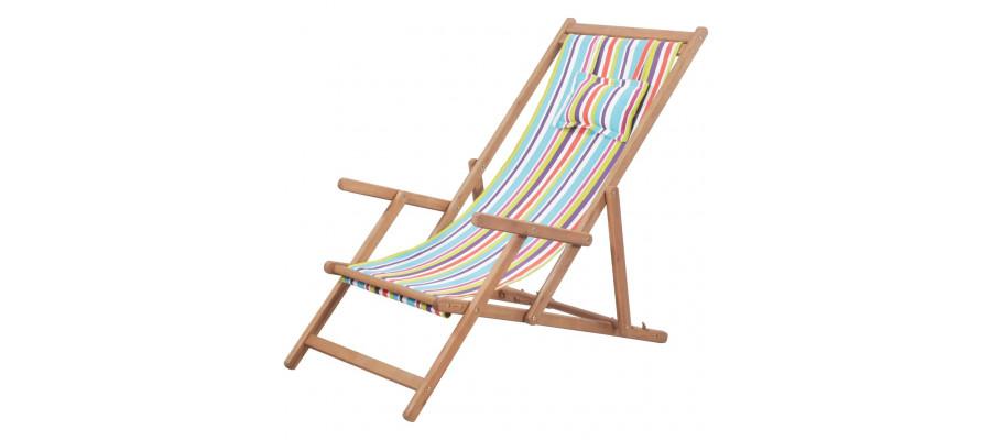 Foldbar strandstol stof og træstel flerfarvet