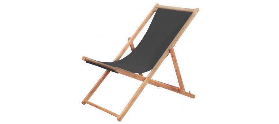 Foldbar strandstol stof og træstel grå