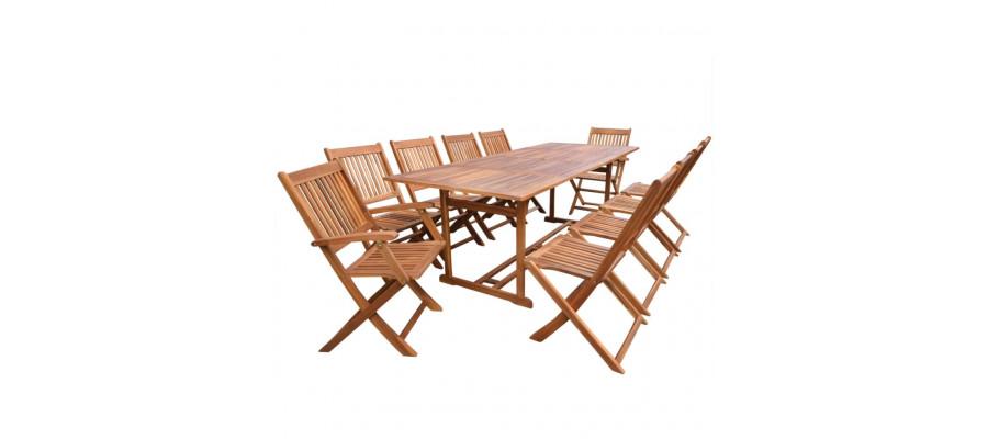 Udendørs spisebordssæt 11 dele massivt akacietræ