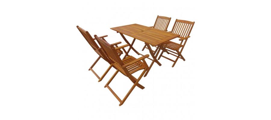 Foldbart udendørs spisebordssæt 5 dele massivt akacietræ