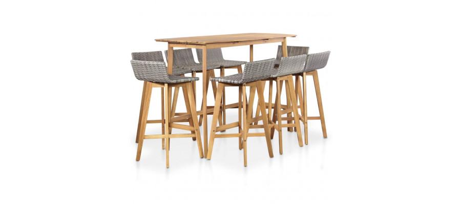 Udendørs spisebordssæt 9 dele massivt akacietræ