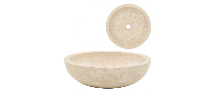 Håndvask 40 x 12 cm marmor cremefarvet
