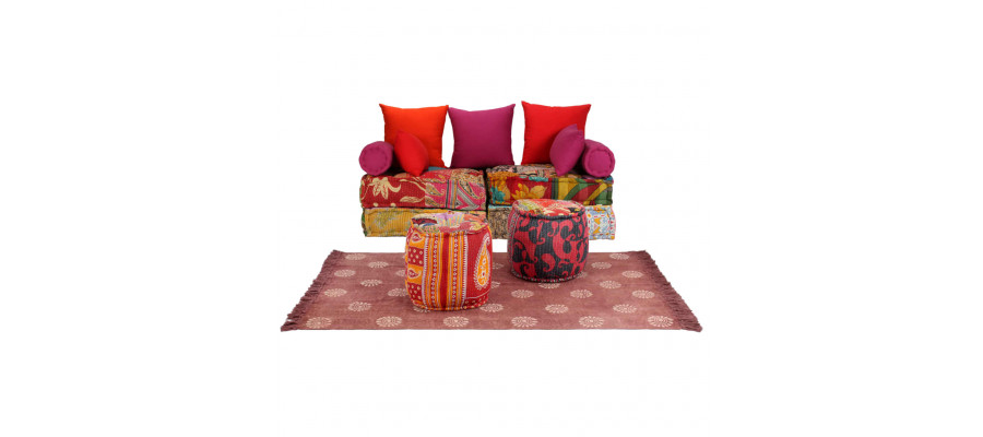 Modulært sofasæt i 14 dele stof patchwork